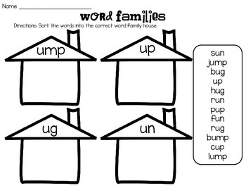 Short Vowel Word Family Word Sort
