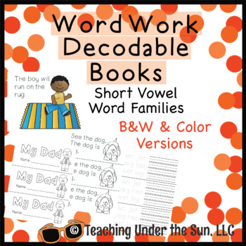 Short Vowel Word Family Word Work Word Study Books