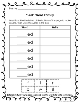 Short Vowel Word Family Work