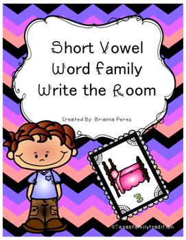 Short Vowel Word Family Write the Room Bundle