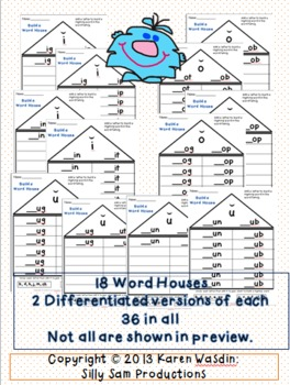 Short Vowel Word Houses with Rhyming Word Families Differentiated Activity
