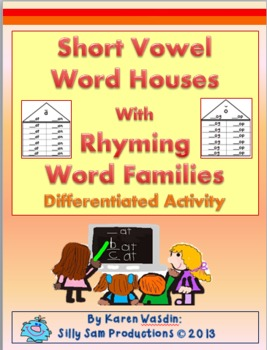 Short Vowel Word Houses with Rhyming Word Families Differe