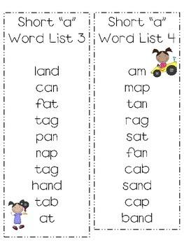 Short Vowel Word Lists