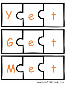Short Vowel Word Puzzles for E