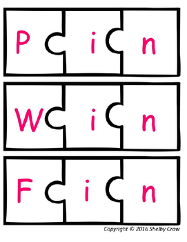 Short Vowel Word Puzzles for I