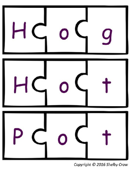 Short Vowel Word Puzzles for O