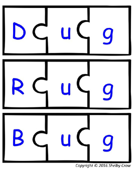 Short Vowel Word Puzzles for U