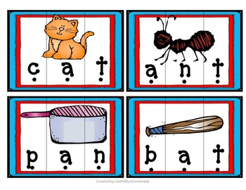 Short Vowel Word Puzzles (FREE)