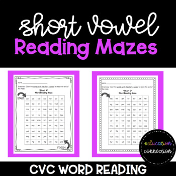 Short Vowel Word Reading Maze