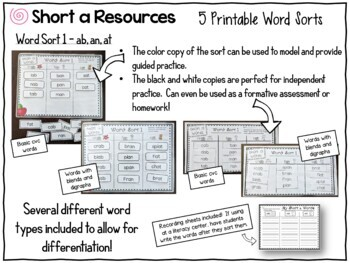 Short Vowel Word Sorts - The BIG Bundle
