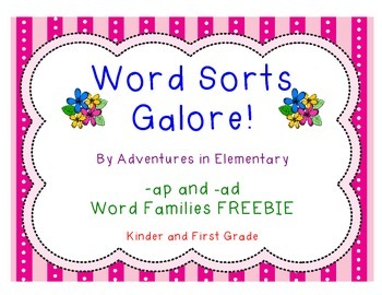 Short Vowel Word Sort for -ap and -ad Word Families