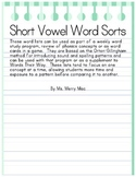 Short Vowel Word Sorts | Orton-Gillingham Spelling List