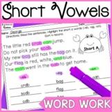 Short Vowel Word Work Printables