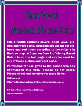 Short Vowel Word and Picture Sort
