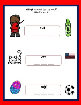 Short Vowel Word/Picture Match and Missing Vowel Worksheet/Letter Tile Worksheet