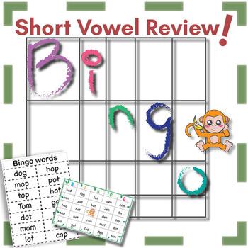 Short Vowel Words Bingo By The Donut Kids Teachers Pay Teachers