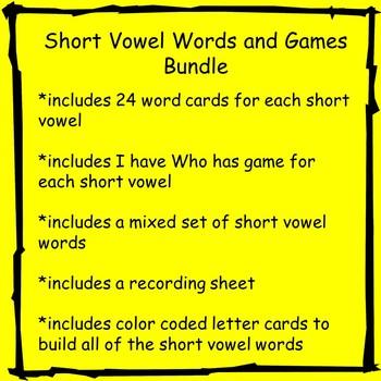 Short Vowel Words and Games Bundle