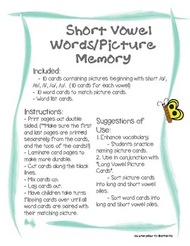 Short Vowel Words and Pictures Memory