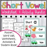 Short Vowel Worksheets Bundle: Great for Literacy Centers, Interventions & More!