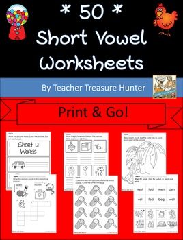 Short Vowel Worksheets **50!!** ~ Big Print & Go! Bundle