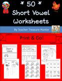 Short Vowel Worksheets **50!!** ~ Big Print & Go! Bundle