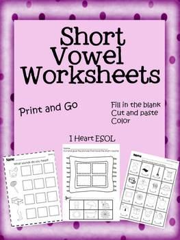 Short Vowel Worksheets- Print and Go