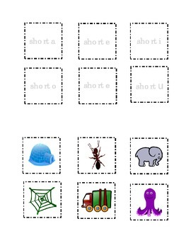 Short Vowel a e i o u Pictures Cut and Paste Match Kindergarten