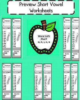 Short Vowel (a, e, i, o, u)  worksheets (EDITABLE)