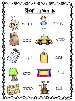 Short Vowel and Th, Sh, Spelling List Posters