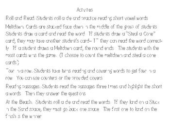 Short Vowel e Activities