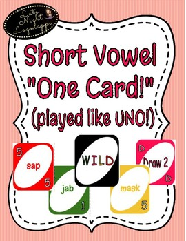 """Short Vowel e """"One Card"""" Game (played like UNO!)"""