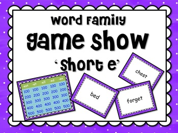Short Vowel 'e' Word Families GAME SHOW for PowerPoint