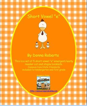 "Short Vowel ""e"" cut and staple emergent/early reader booklets"