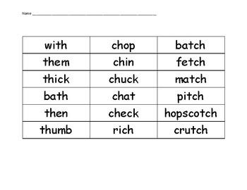 Short Vowel th, ch, tch Sort