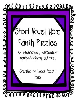 Short Vowel/Word Family Puzzles
