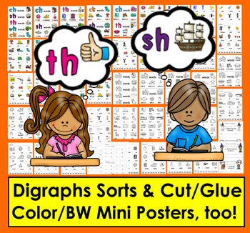 Digraphs: CH, SH, TH, WH, CK - Sorting and Cut & Glue Activities
