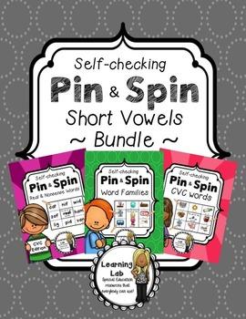 Short Vowels BUNDLE - Self-Checking Phonics Centers