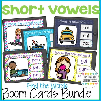 Short Vowels Boom Cards Bundle Find the Words