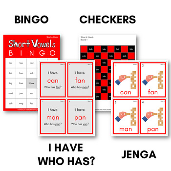 The Complete Short Vowels Game Pack - CVC Bingo, Dominoes, and other Board Games