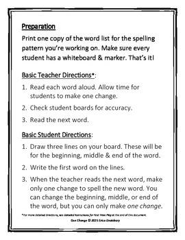 "Short Vowels (CVC)- ""One Change"" Whiteboard Game"