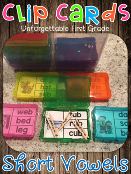 Short Vowels Clip Cards {Easy Storage!}