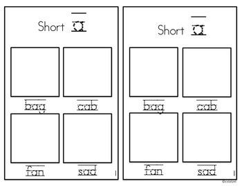 Short Vowels Cut & Paste Student Book