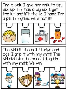 Short Vowels Reading Fluency and Comprehension Puzzles