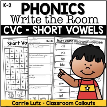 Short Vowels Write the Room with Extension Activities