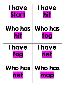 Short Vowels 'I Have, Who Has?'