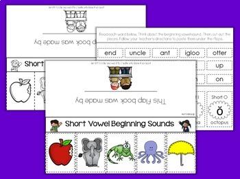 Short Vowels {Initial Sounds} Phonics Flap Book Foldable