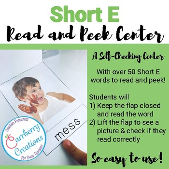 Short Vowels Literacy Center with Short E words