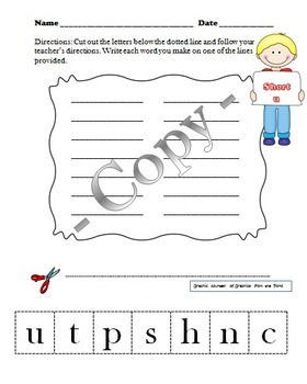 Short Vowels Making Words Students Sheets