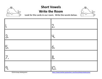 Short Vowels Ocean Friends Write the Room