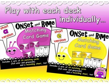 Short Vowels Onset and Rime Matching Game BUNDLE!